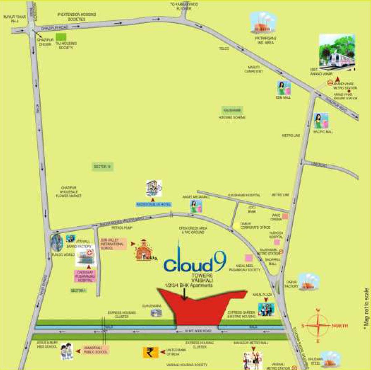 Cloud 9 skylish indirapuram ghaziabad flats in indirapuram price - Location Map