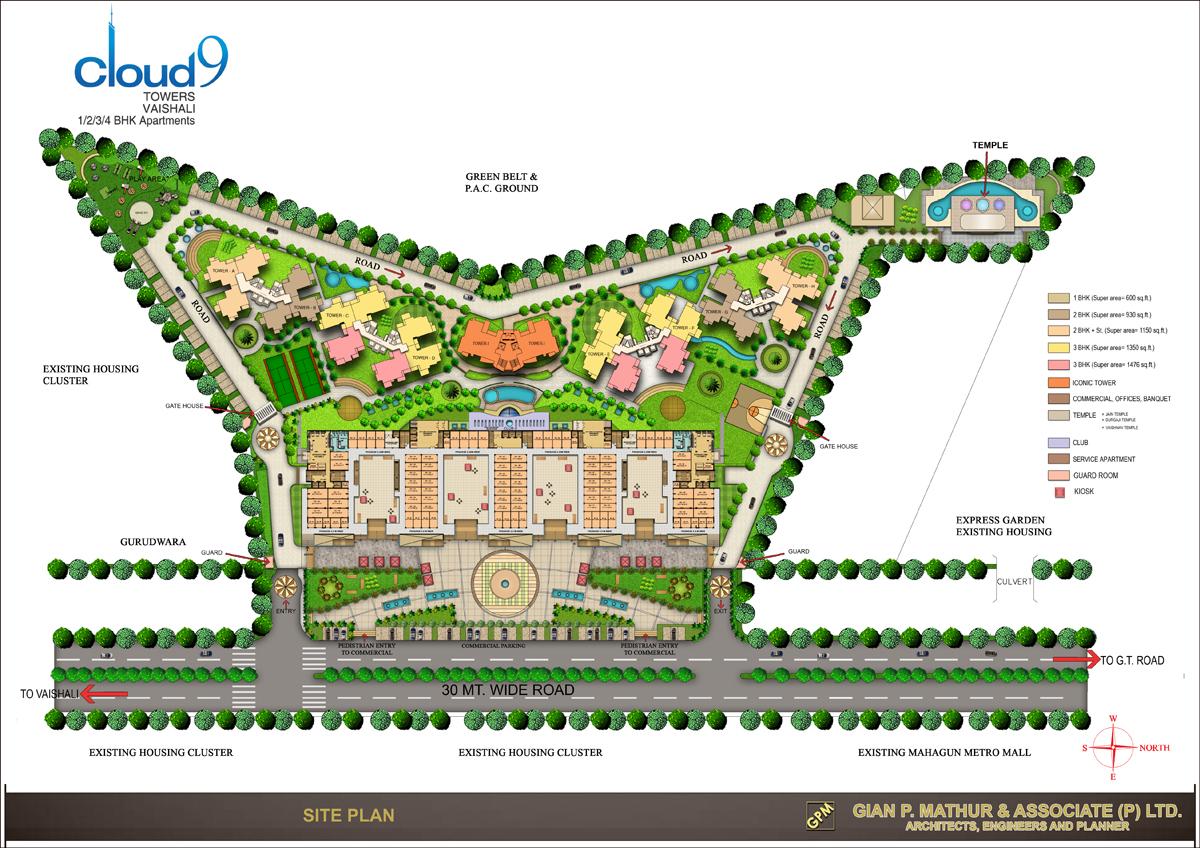 Cloud 9 skylish indirapuram ghaziabad flats in indirapuram price - Site Plan
